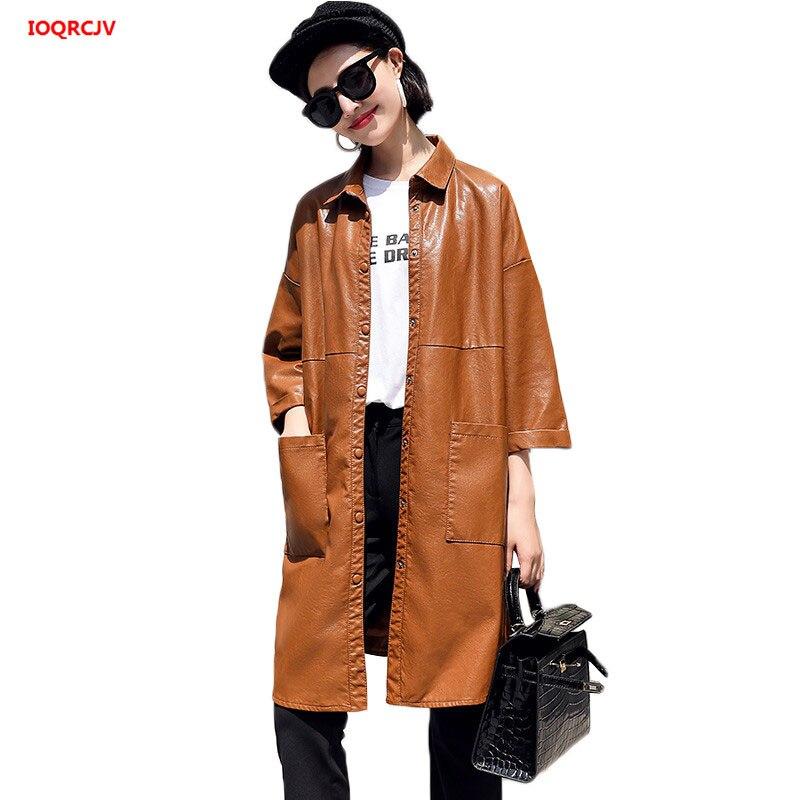 2018 neue Herbst Windjacke Mantel Weiblichen Medium Lange Koreanische Lose PU Leder Jacken Casual Winter Jacke frauen Plus Größe w161-in Leder & Wildleder aus Damenbekleidung bei  Gruppe 1