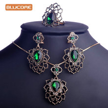 Blucome Green Rhinestones Flower Jewelry Sets Hollow Vintage Turkish African Pendant Necklace Earring Ring Set For Bridal Women
