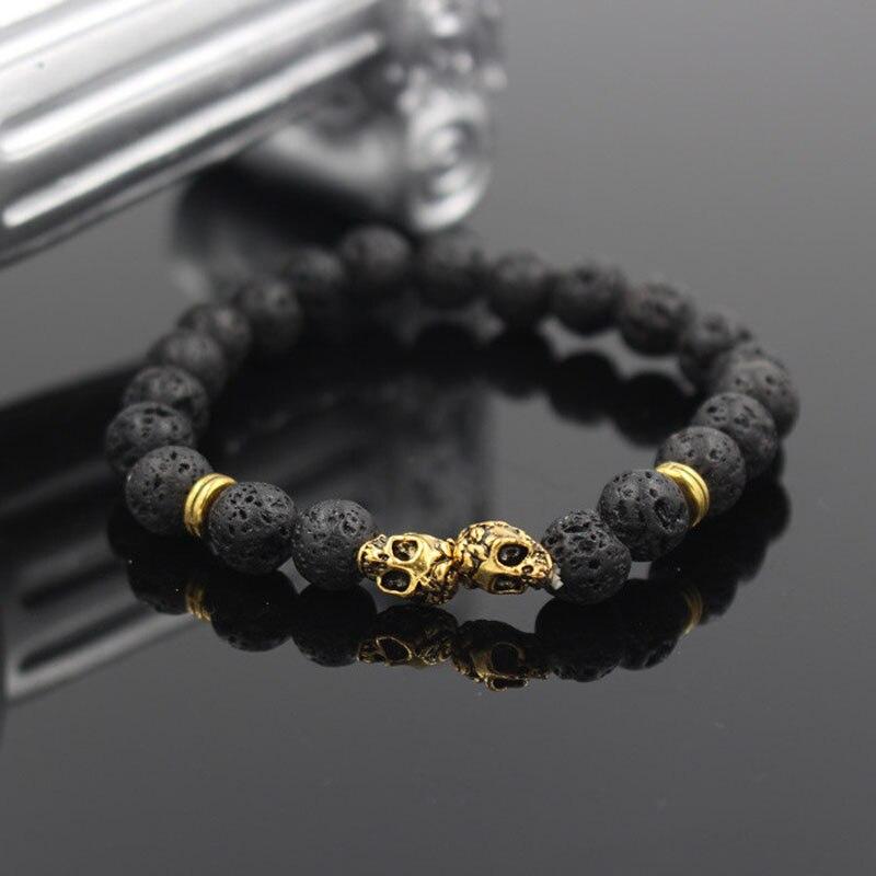 Wholesale Fashion Double Antique font b Gold b font Color Skull Charm font b Bracelets b