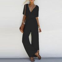 2019 Women Jumpsuit Romper Short Sleeve V Neck Casual Playsuit Overalls Ladies Wide Leg Loose White Black Pink Playsuit