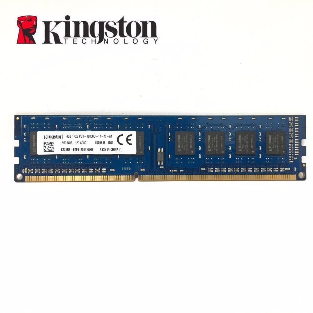 Kingston 4g 4 gb DDR3 1RX8 PC3 12800 DDR3 1600 mhz 1600 mhz Module ECC De Bureau RAM de mémoire De Bureau d'origine Kingston Chipset
