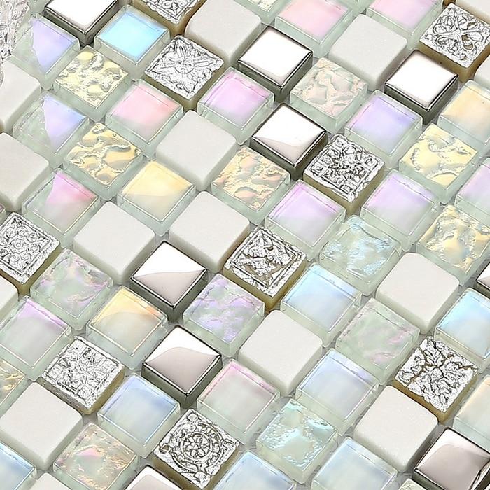 Mini Platz Glänzenden Klar Fleck Glas Gemischten Weißen Stein Für Küche  Backsplash Fliesen Badezimmer Dusche Mosaik