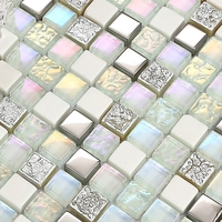 Mini Square Shining Clear Stain Glass Mixed White Stone For Kitchen Backsplash Tile Bathroom Shower Mosaic