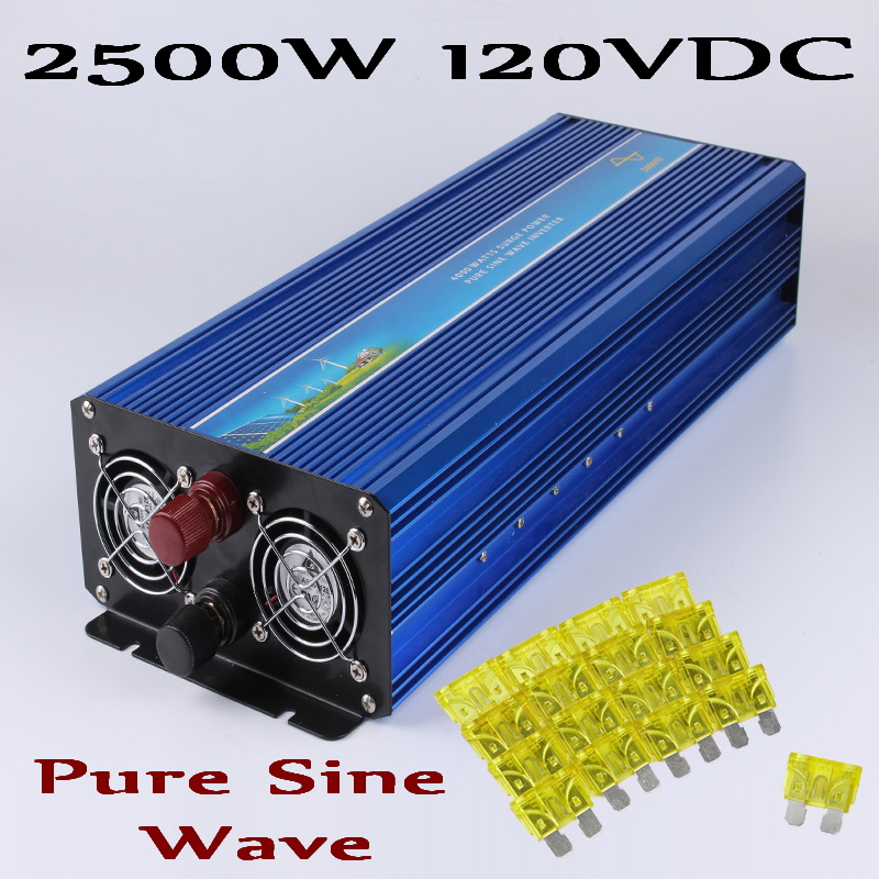 2500W 120VDC Pure sine wave Solar Wind off grid inverter 100 145VDC to AC100V/110V/ 220V/230V/240V with Peak power 5000W