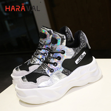 HARAVAL Spring and autumn retro fashion sneakers women trend high to help single shoes color outdoor sequins womens N86