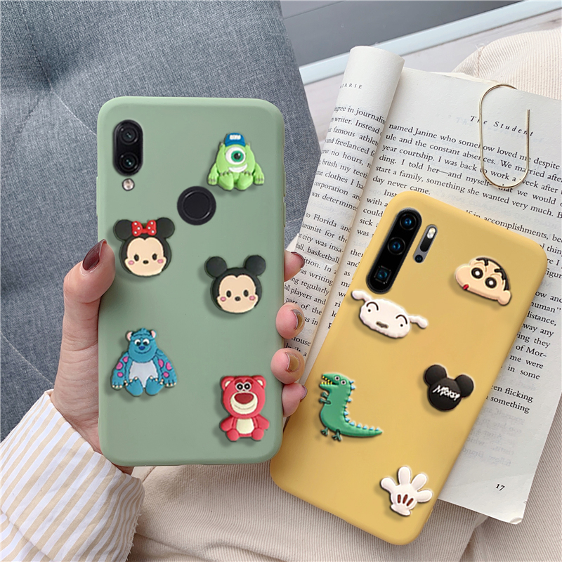 cute 3D cartoon mickey minnie dinosaur case for huawei p30 p20 p smart lite pro plus 2019 lovely matte soft tpu back cover funda