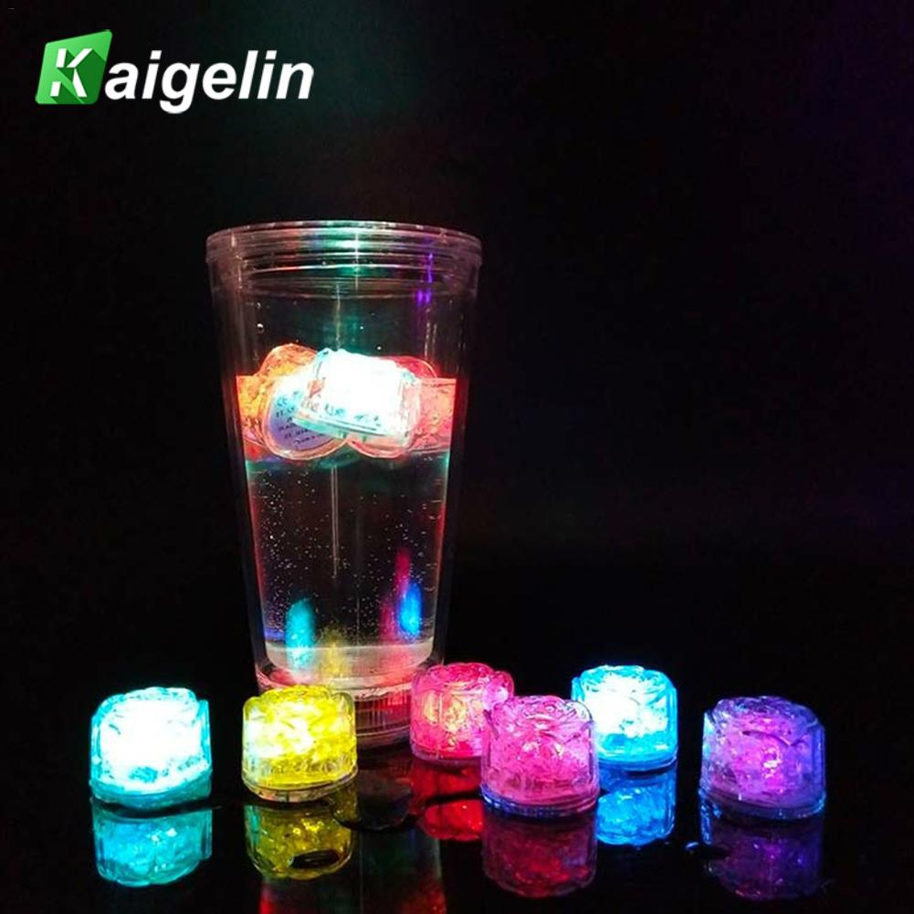 12pcs/lot LED Ice Cubes Glowing Party Rose Shape Flash Light Luminous Christmas Wedding Festival Bar Wine Glass Decoration Lamp