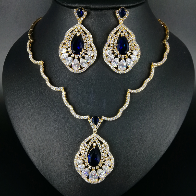 2018 NEW FASHION retro blue water drop zircon white/pure gold color necklace earrings wedding bride banquet dinner jewelry set