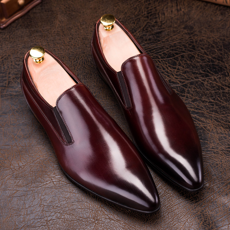 Cavalheiro Genuíno Clássico Preto vermelho Moda Sapatos Black Toe De Plana Elástico Confortável red Homem Apontou Casuais Nova Zgzjywm Couro gq0Svv
