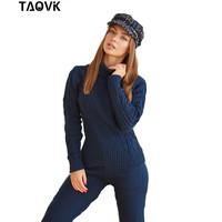 TAOVK Winter Woolen and Cashmere Warm Knitted Suits Turtleneck Pullover Sweater + Trousers Pants Two Piece Set Knit Outfit