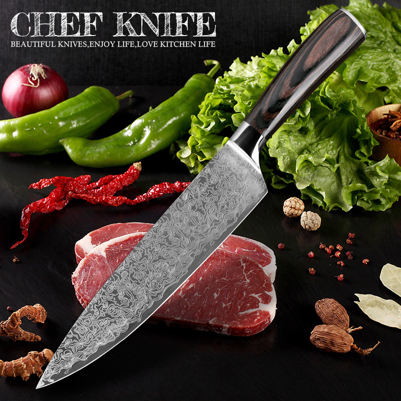 "XITUO 8""inch chef knife Japanese Damascus steel Pattern Professional kitchen knives Utility Santoku Cleaver Filleting Home tool"