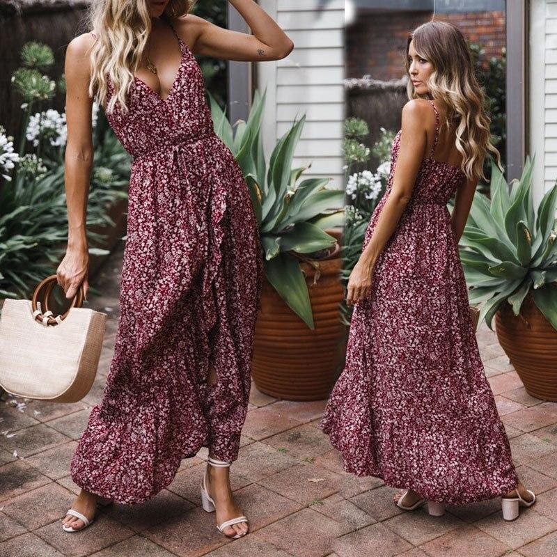 Fashion Evening Beach Halter Backless Dresses Summer Holiday Dress Sundress Women Floral Long Maxi Party