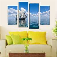 Unframed 4 Panel Seaview Sailing White Cloud Blue Sky Large Hd Picture Modern Home Wall Decor Canvas Print Oil Painting