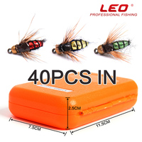 40pcs/box Trout Fly Fishing Lure Set Mosquito Housefly Dry Flies Artificial Realistic Emerger Kit Rainbow Flyfishing Pesca