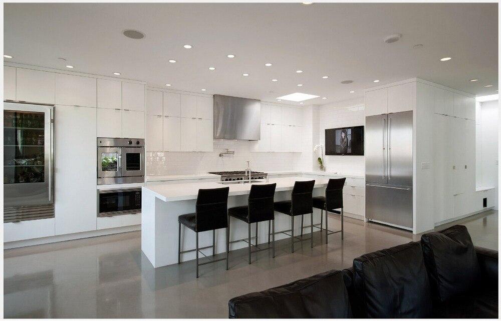 2017 new design modern modular kitchen cabinet customizes for Cuisine donnant sur salon