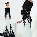 Honey Qiao Mother Of The Bride Dresses Plus Size Black Lace White Satin Floor Length Sheath Dress Applique Evening Gowns