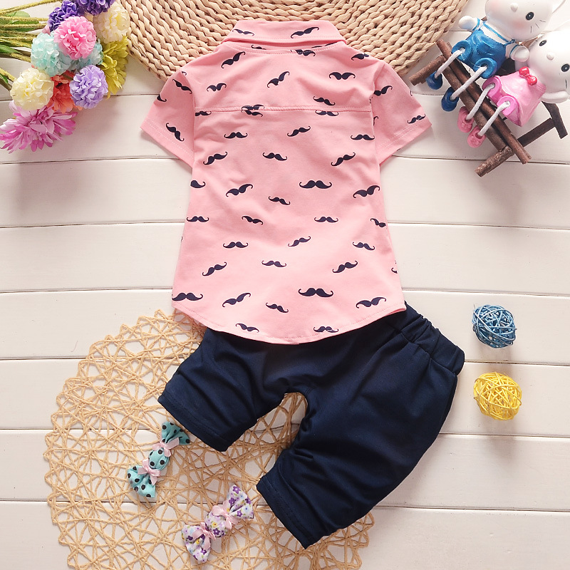 Children Sets 2018 Summer Baby Boys Clothes Suits Gentleman Style Kids Lovely beard Lapel Shirt+Pants 2 Pcs Infant Casual Suits