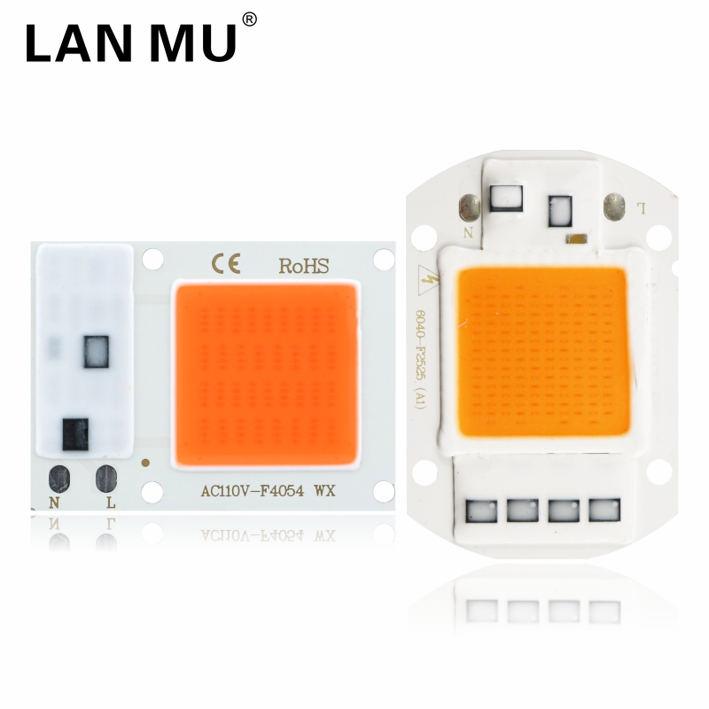 Led Cob Grow Light Chip 10w 20w 30w 50w 110V 220V Full Spectrum 380nm-840nm Grow Chip For Indoor Plant Seedling Grow And Flower