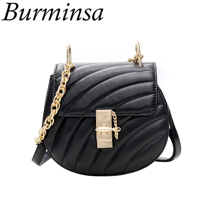 Burminsa Brand Chain Drew Shoulder Bags Round Small Designer Ladies Hand Bags High Quality PU Leather Crossbody Bags For Women xiyuan brand ladies beautiful and high grade imports pu leather national floral embroidery shoulder crossbody bags for women