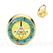 Hot Sale Gravitasi Jatuh Misteri Tagihan Cipher Roda Roda Fashion Kaca Cabochon Infinity Adjustable Cincin Hadiah Buatan Tangan(China)