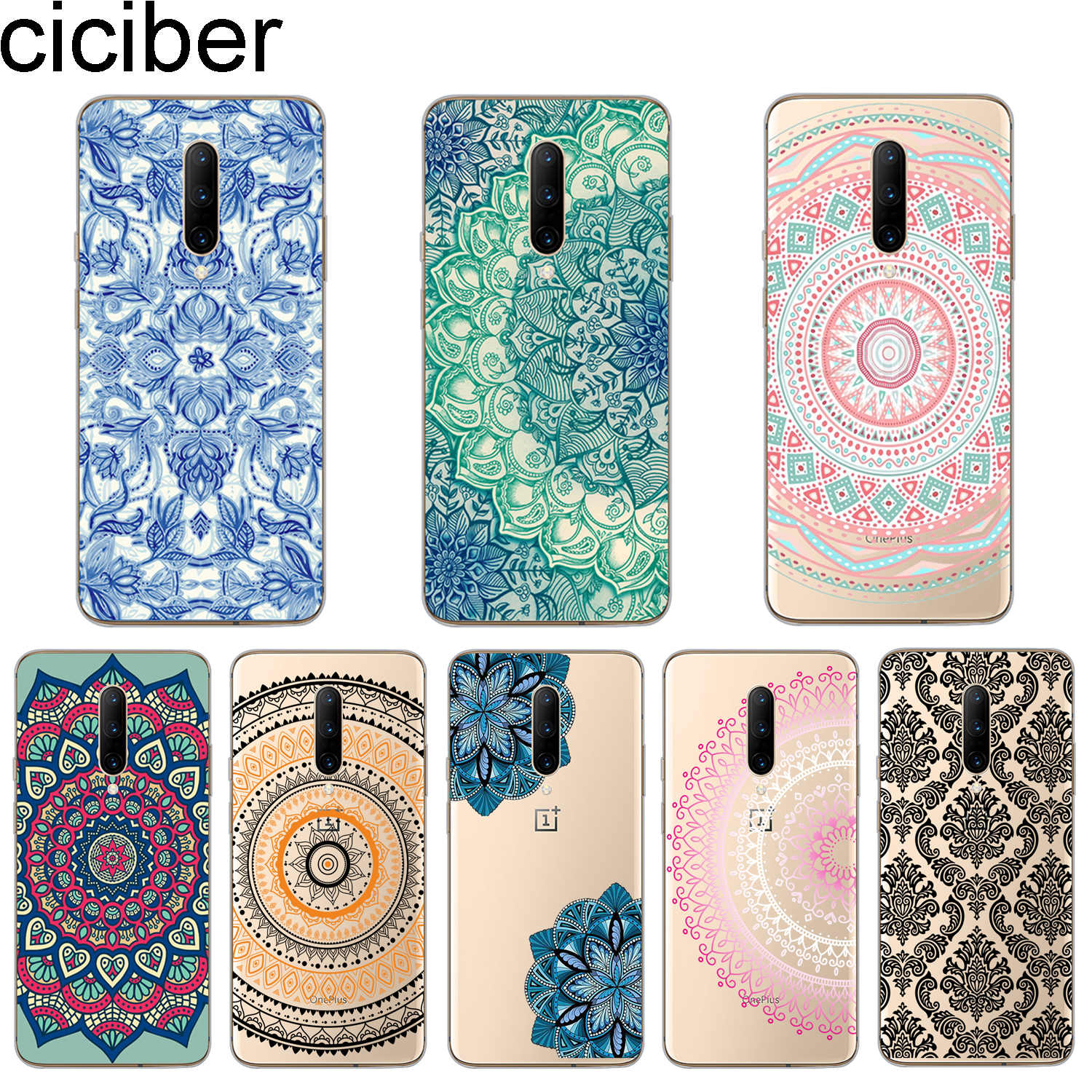 ciciber Mandala pattern Phone Case for Oneplus 7 Pro 6 5 T Soft TPU Back Cover Clear for oneplus 1+7 Pro 1+ 6 1+5 T Fundas Coque