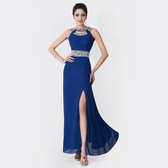 online store 3c557 16b5b US $149.0 |Babyonline dress vendita caldo blu foro chiave lungo abito da  sera con spacco perline paillettes piano lunghezza prom party dress ...