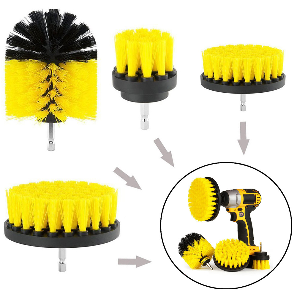 2018 Hot Sale High Quality 4Pcs Grout Power Scrubber Cleaning Brush Tub Cleaner Combo Tool Kit Yellow Gift Dropshipping