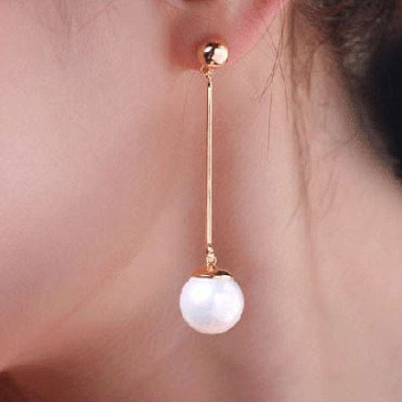 Korean Simulated Pearl Long Tassel Bar Drop Earrings For Women OL Style Sweet Dangle Brincos Party Jewelry Gift Wholesale EB478 4