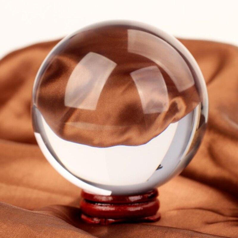 200 mm/pc Crystal Ball + Houten Base + Geschenkdoos Kristalglas Feng Shui Bal Woondecoratie Sphere-in Figuren & Miniaturen van Huis & Tuin op  Groep 1