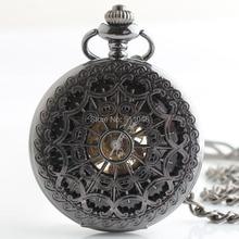 DHL 10 шт./лот черные паутины флип Механические карманные часы классический подарок часы горячая распродажа