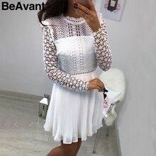 BeAvant Sexy lace women short dress party Pleated chiffon summer dress 2019 Hollow out long sleeve mini ladies dresses vestidos