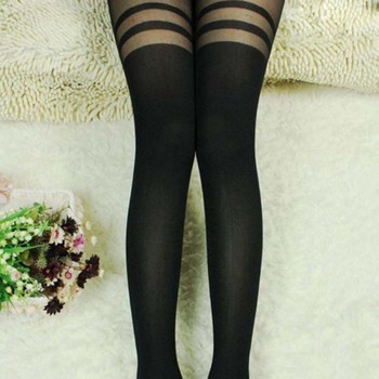 Mock Over The Knee Double Stripe Sheer Tight 1