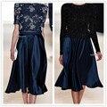 Faldas Para Mujer de Saia Midi Otoño 2016 Más El Tamaño 5XL 6XL 7XL Negro Satén Rojo Sólido Una Línea de Mujer de La Vendimia de La Falda Maxi