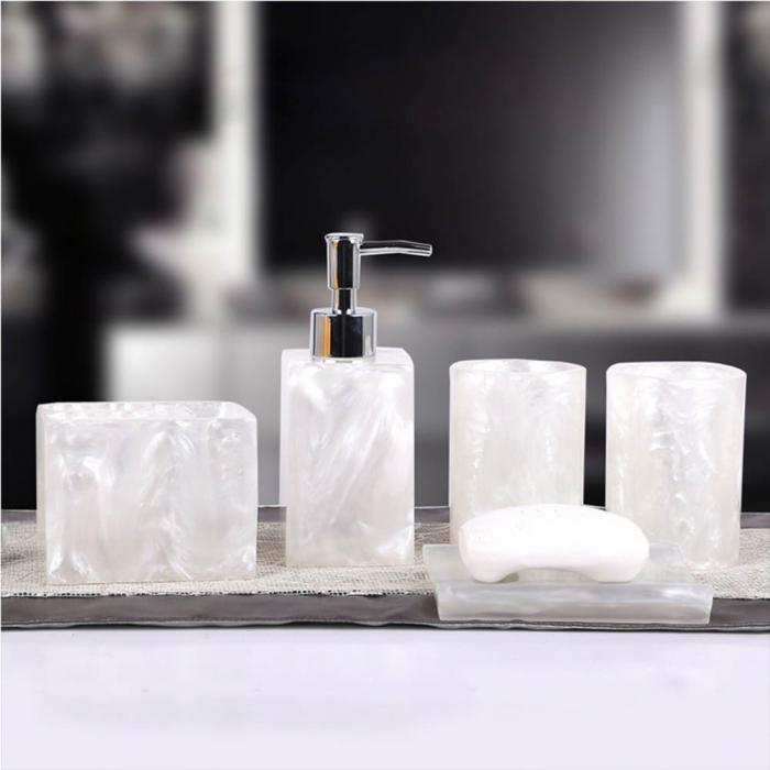 5 Pcs Resin Bath Accessories Set Lotion Dispenser Pumptoothbrush