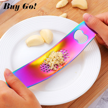 1PC Stainless Steel Garlic Press Crusher Peeler Peel Ginger Rocking Chopper with Bottle Can Beer Opener Easy Use Kitchen Gadgets