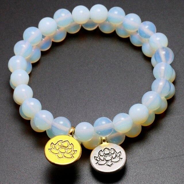 Bracelet pierre de lune blanche avec pendentif argent ou or