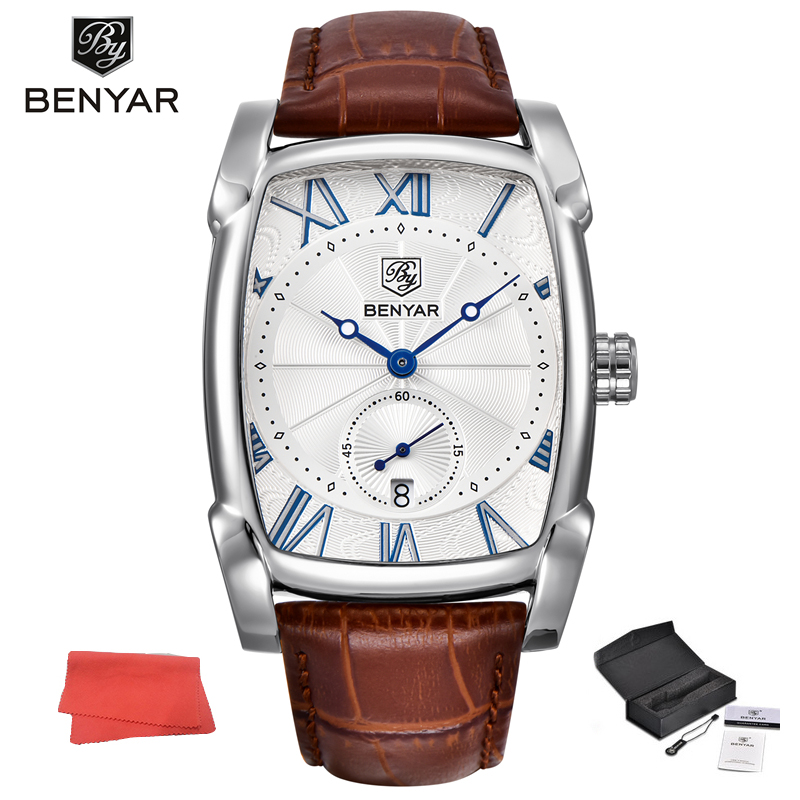 Benyar Square Quartz Watch Men Roman Numerals Dial Leather Strap Clock Waterproof Casual Date Wristwatch Relogio Masculino