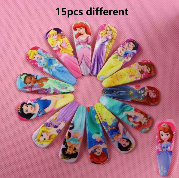 15pcs/lot Girls Cartoon Character Sofia Snow White Rapunzel Cinderella Princess Headwear Hair Claws Clips Fashion Accessories 10pcs snow white sofia hrief princess anna elsa hair accessories cute kids bb hair clips flower crown rim hair bows 5