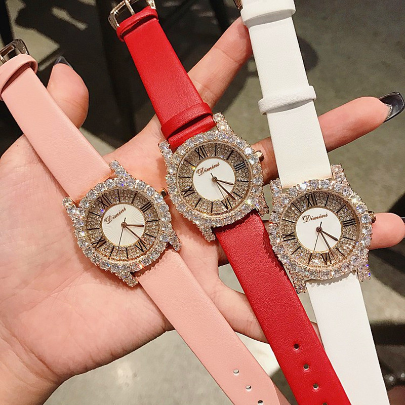 Hot Sale Rose Gold Diamond Lady Watch Woman New Dress Watches New Luxury Leather Strap Women Quartz Watches Clock reloj mujer sk top luxury brand fashion womens watches clock women steel mesh strap rose gold bracelet quartz watch reloj mujer 2017 new hot