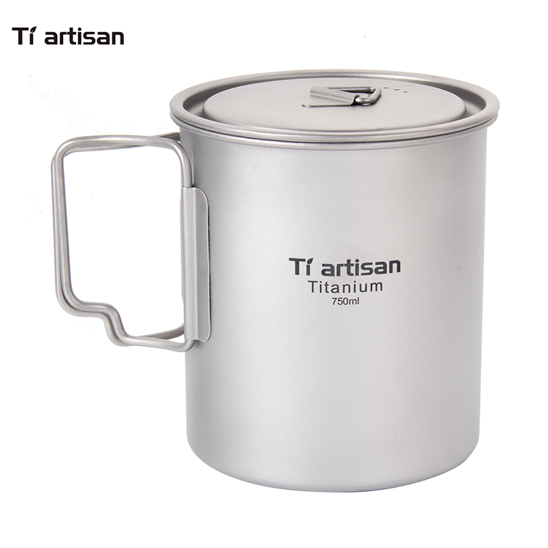 Tiartisan Outdoor Camping Pure Titanium Mugs Pot Folding Handle Portable Picnic Cookware 750ml Ta8315