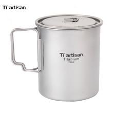 Tiartisan 750ml Outdoor Camping Pure Titanium Mugs Pot Folding Handle Portable Picnic Cookware
