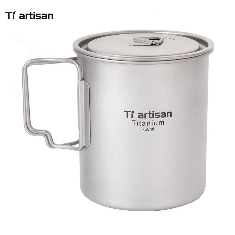 Tiartisan extérieur Camping pur titane tasses Pot pliant poignée Portable pique-nique ustensiles de cuisine 750 ml Ta8315
