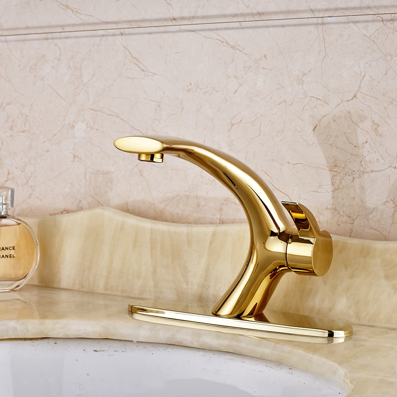 Golden Single Handle Bathroom Basin Faucet Deck Mount Sink Mixer Tap+Cover Plate golden solid brass bathroom sink faucet single handle mixer tap basin faucet with cover plate