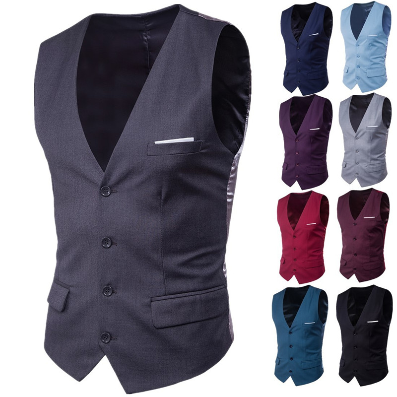 DECPLE 9 Color Business Casual Slim Solid Single Buttons Vests Fit Male Suit For Men