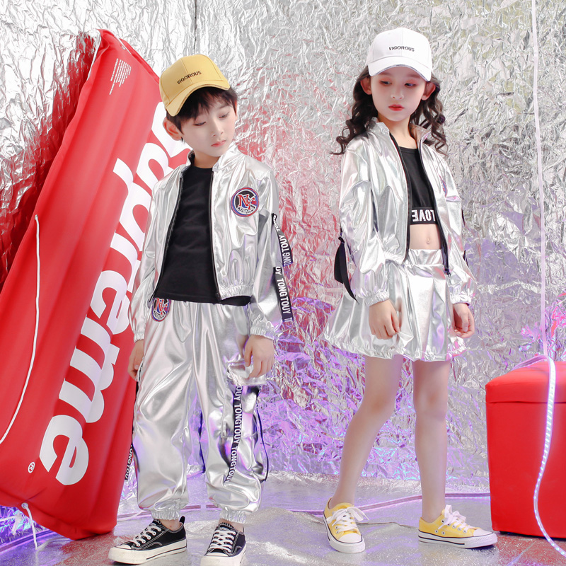 Kids Concert Sliver Hip Hop Clothing Outfits Loose Jacket Tops Pants Girls Boys Sequins Dance Costume Wear Ballroom Stage Wear