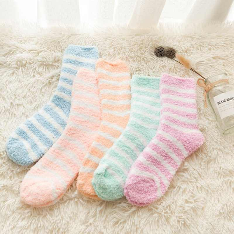 New Women Cozy Striped Socks Winter Warm Sleep Bed Socks Floor Home Fluffy Socks Coral Velvet Feet Warmer Christmas Gift Meias