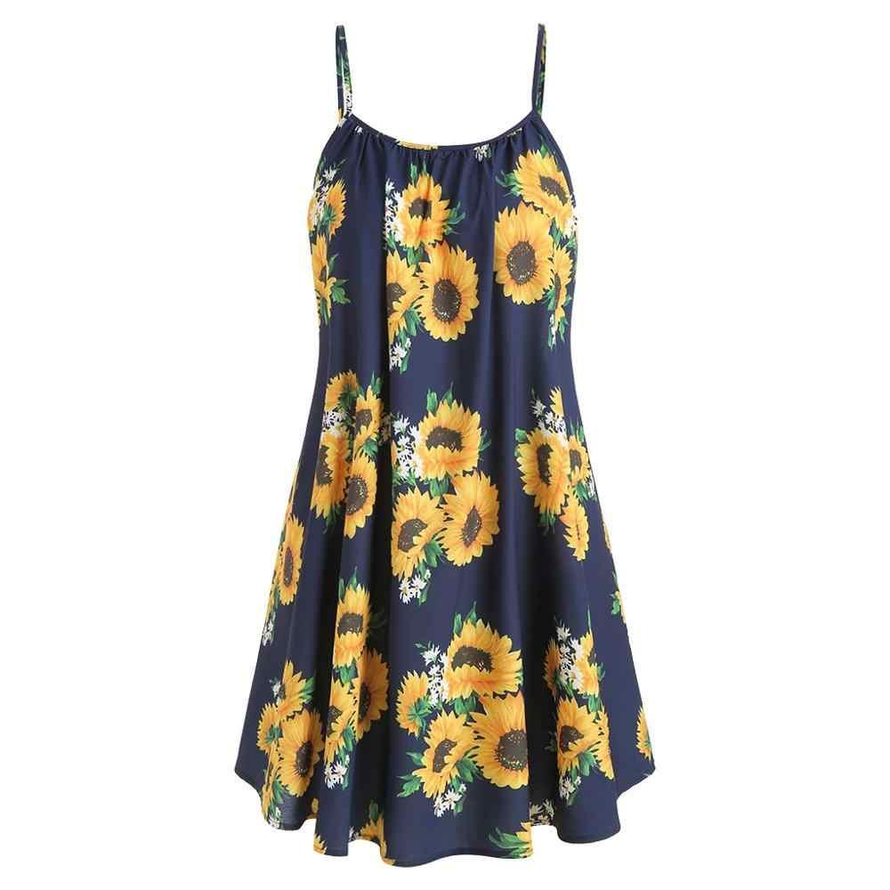 Ropa Mujer 2019 seksi kadınlar yaz Boho kaşkorse elbise kolsuz plaj elbise kızlar ayçiçeği baskılı Sundress Drop Shipping C