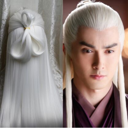 White Vintage Long Hair For Men Ancient Chinese Hair Ancient Man