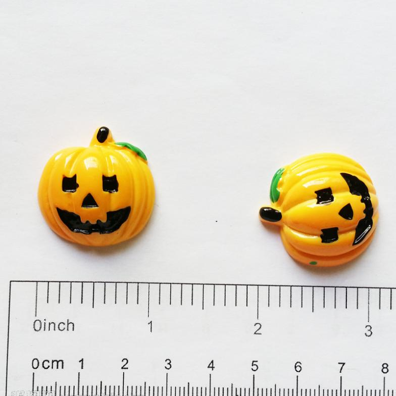 50 pcs Cute Halloween Pumpkin FlatBack Resin Cabochon Scrapbooking Embellishments for Hair Bow Home Decoration Accessories