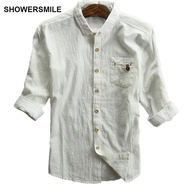 Brand new SHOWERSMILE Off White Linen Shirts Men Plus Size Casual Half  PJ85